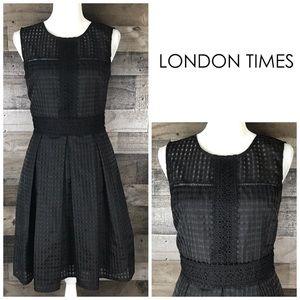 London Times Black Dress Sleeveless Fit & Flare 8